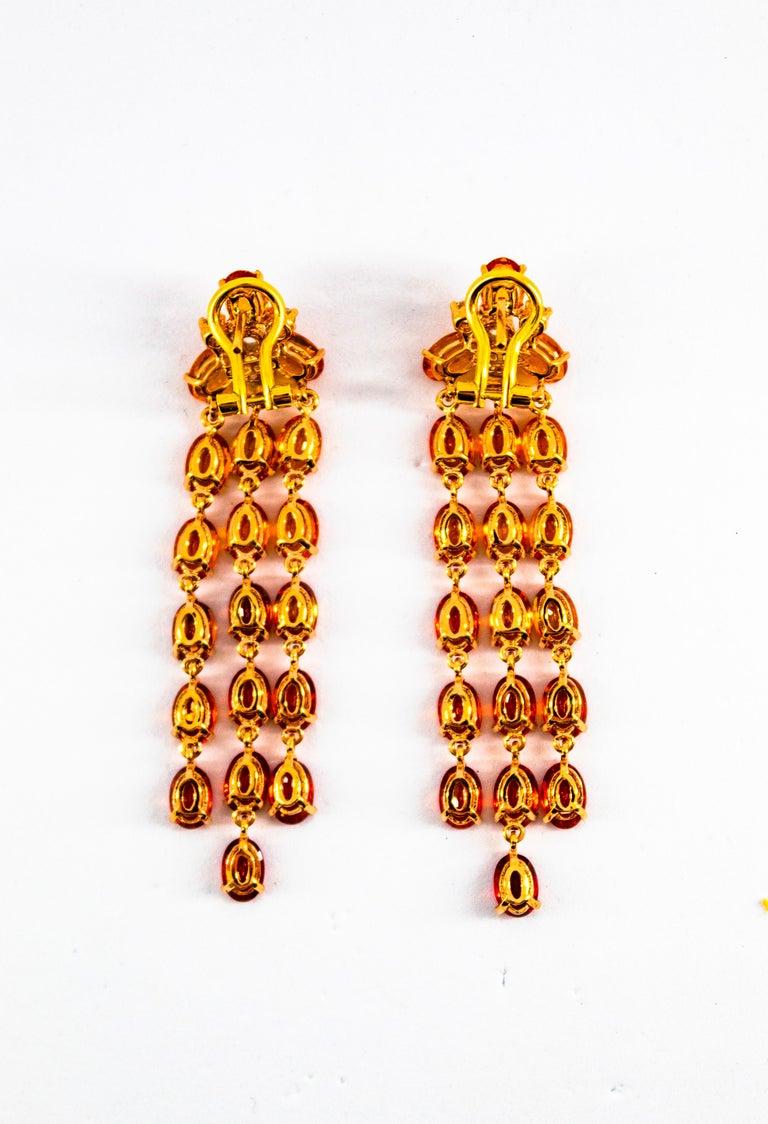 0.45 Carat White Diamond 21.30 Carat Yellow Sapphire Yellow Gold Drop Earrings For Sale 4