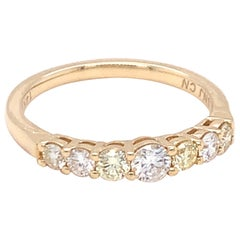 0.45 Carat Yellow & White Diamond Band Ring in 14k Yellow Gold