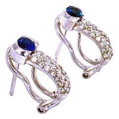 0.45 Ct Diamond/0.45 Ct Sapphire 14 Pave/Half Bezel Set Diamond/Sapphire Earring
