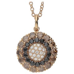 0.45 White GSI 0.78 Black 2.13 Brown Diamonds 18Kt Gold Round Pendant Necklace