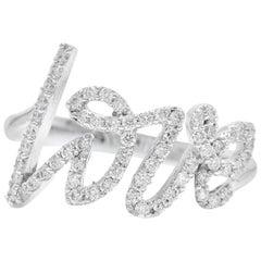 0.45 Carat Natural Diamond 14 Karat Solid White Gold Band Love Ring