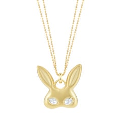 0.46 Carat 18 Karat Gold Rabbit Mask Pendant Necklace with Rose Cut Diamond Eyes