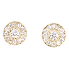 0.46 Carat Diamond 14 Karat Yellow Gold Earrings