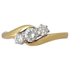 0.46 Carat Diamond and 18 Karat Gold Trilogy Twist Ring, Contemporary, 2001