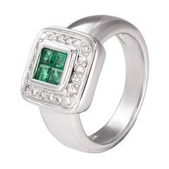 0.46 Carat Emerald White Diamond 18 Karat White Gold Geometric Cocktail Ring
