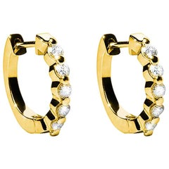 0.46 Carat F VS Diamond 18 Karat Yellow Gold Huggie Earrings Natalie Barney