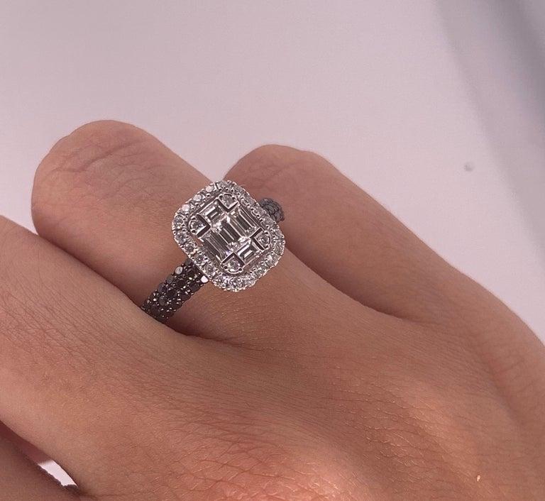 Modern 0.47 Carat Black and White Diamond Ring 18K White Gold Cluster Engagement Ring For Sale