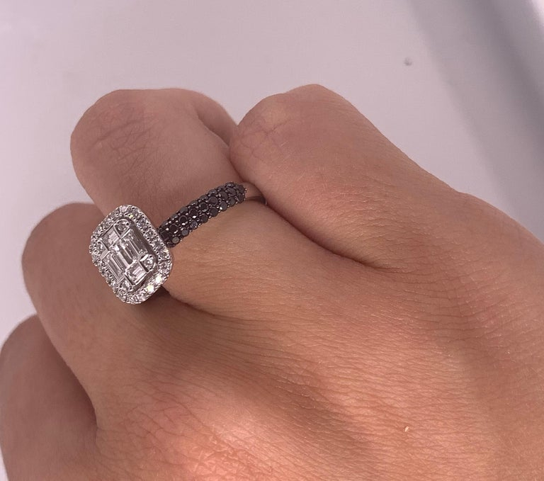 Round Cut 0.47 Carat Black and White Diamond Ring 18K White Gold Cluster Engagement Ring For Sale
