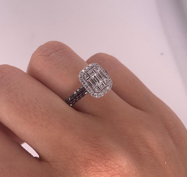 0.47 Carat Black and White Diamond Ring 18K White Gold Cluster Engagement Ring In New Condition For Sale In GREAT NECK, NY