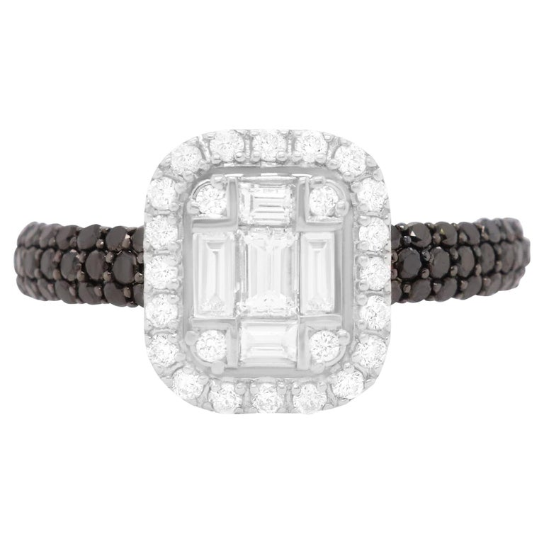 0.47 Carat Black and White Diamond Ring 18K White Gold Cluster Engagement Ring For Sale