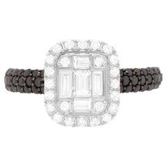 0.47 Carat Black and White Diamond Ring