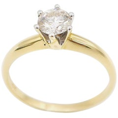 0.47 Carat Diamond Without Certificate Solitaire Gold Engagement Wedding Ring