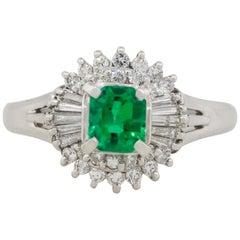 0.47 Carat Emerald Gemstone Center Diamond Cocktail Ring Platinum in Stock