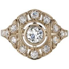 0.47 Carat Old European Cut Diamond Set in an 18 Karat Champagne Gold Ring