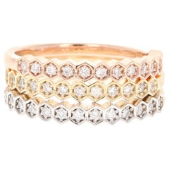 0.47 Carat Round Cut Diamond White, Rose, Yellow Gold Stackable Bands