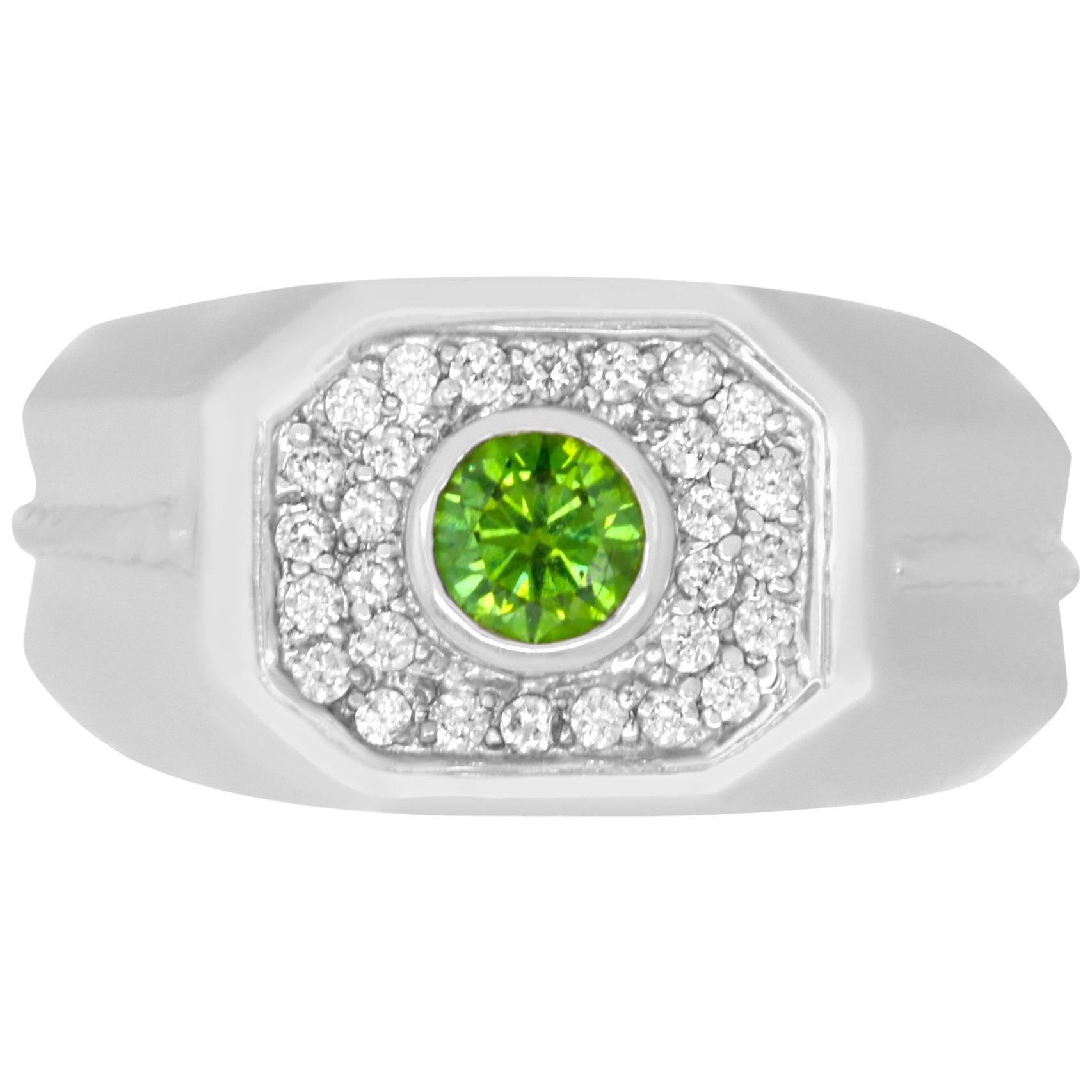 0.47 Carat Round Green Diamond 0.32 Carat White Diamond Men's Ring Band 14K Gold