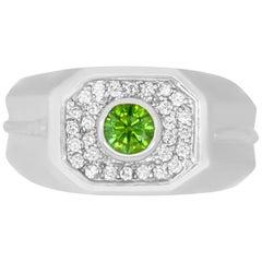 0.47 Carat Round Green Diamond and 0.32 Carat White Diamond Men's Ring