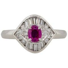 0.47 Carat Ruby Diamond Eye Cocktail Ring Platinum in Stock