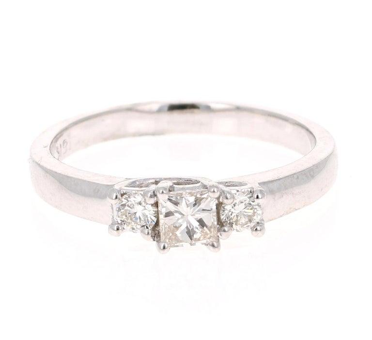 Modern 0.47 Carat Three-Stone Diamond 18 Karat White Gold Ring