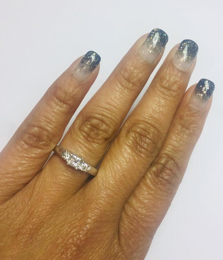 Princess Cut 0.47 Carat Three-Stone Diamond 18 Karat White Gold Ring