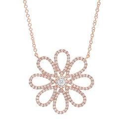 0.47 Carat 14 Karat Rose Gold Diamond Flower Necklace