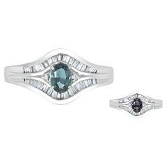 0.47ct Alexandrite Rings with 0.48tct Diamonds Set in Platinum 900 Platinum
