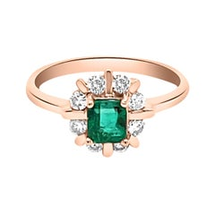 0.47ct Natural Emerald 14k Rose Gold Ring
