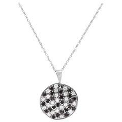 0.48 Carat Black and White Diamond Disc Pendant Necklace 14 Karat Gold
