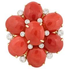 0.48 Carat Diamond Mediterranean Coral Flower Ring 18 Karat in Stock
