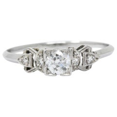 Retro 0.48 CTW Diamond Platinum Engagement Ring Circa 1940