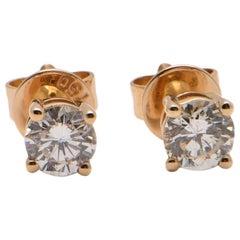 0.48 Carat Diamond Screw Back Studs in 18 Carat Yellow Gold