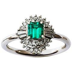 0.48 Carat Emerald and Diamond Platinum Cocktail Ring