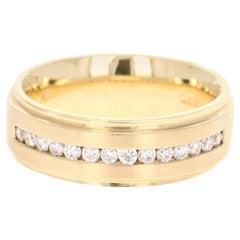 0.48 Carat Men's Wedding Band 14 Karat Yellow Gold