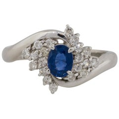 0.48 Carat Oval Cut Sapphire Diamond Cocktail Spiral Ring in Stock