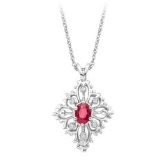 Oval Ruby Diamond Pendant
