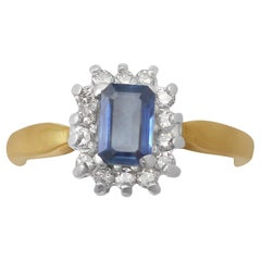 0.48 Carat Sapphire and 0.35 Carat Diamond, 18 Karat Gold Cluster Ring, Vintage