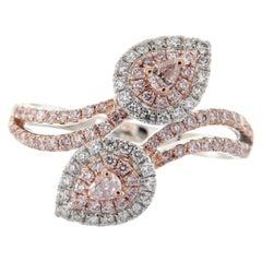 0.48 Carat Total Weight Pink Diamond 18 Karat Two-Tone Bypass Ring