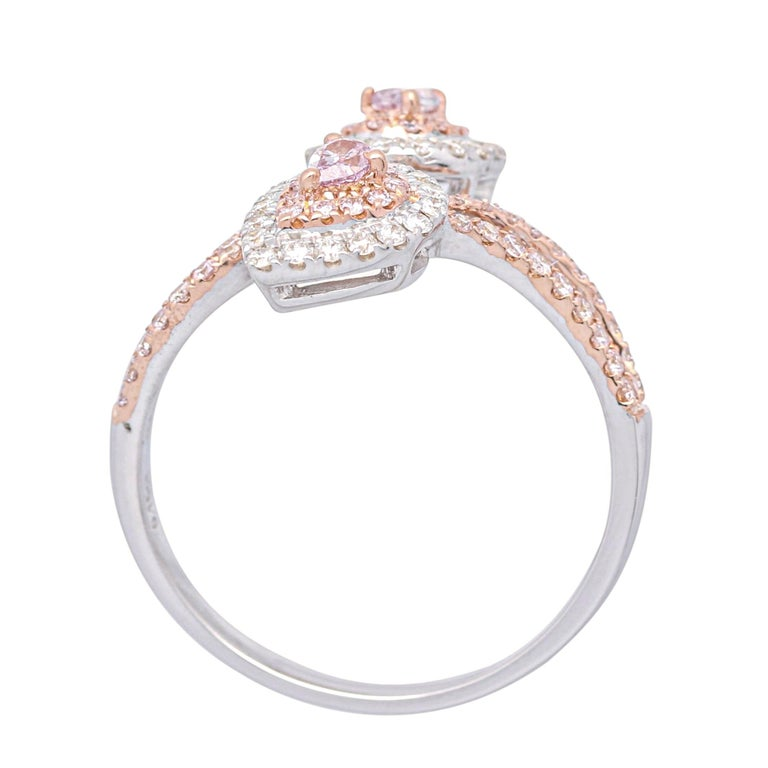 Art Deco 0.48 Carat Total Weight Pink Diamond 18 Karat Two-Tone Bypass Ring For Sale