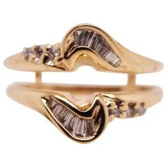 0.48 Carat Vintage 14 Karat Yellow Gold Diamond Ring Enhancer/ Wrap/Guard