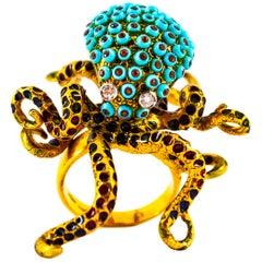 """0.48 Carat White Diamond Garnet Turquoise Yellow Gold """"Octopus"""" Cocktail Ring"""