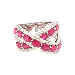 0.48 Diamonds and 2.88 Ruby Double Band Ring on White Gold Italy with box