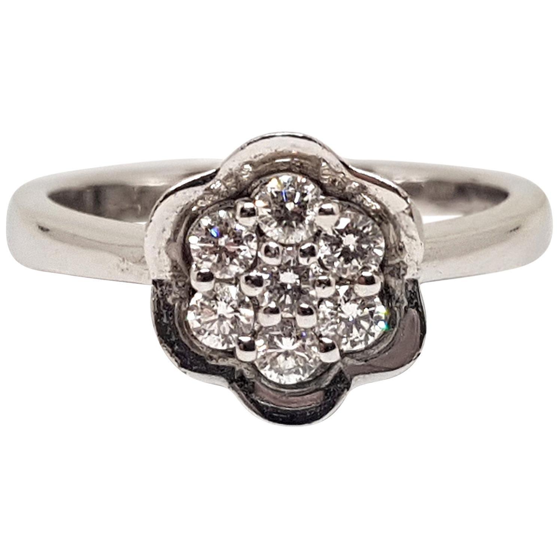 0.49 Carat 18 Karat White Gold Diamond Ring