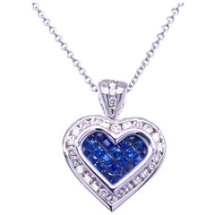 0.49 Carat Diamond/0.79 Carat Blue Sapphire 18K Gold Hearts Pendant Necklace