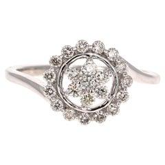 0.49 Carat Diamond 14 Karat White Gold Cluster Ring