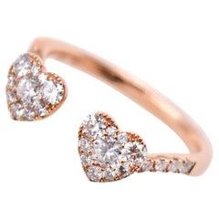 0.49 Carat Heart Cluster Diamond Promise Ring in 18 Karat Rose Gold