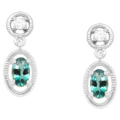 0.49 Carat Natural Color Changing Alexandrite and Diamond Dangle Earrings