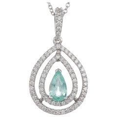 0.49 Carat Pear Shaped Paraiba Tourmaline Diamond Halo Pendant 18 Karat Gold