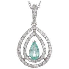 0.49 Carat Pear Shaped Paraiba Tourmaline Diamond Halo Pendant 18 Karat Gold