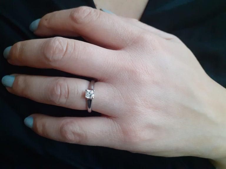 Modern 0.49 Carat Tiffany & Co Lucida Diamond Platinum Engagement Ring For Sale