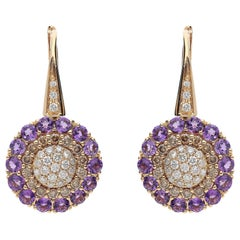 0.49 White GSI 0.55 Brown Diamonds 1.48 Amethyst 18kt Pink Gold Dangle Earrings